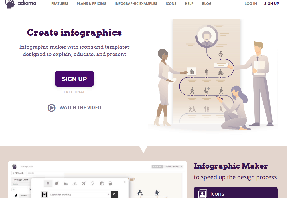 Adioma - Make Infographics With Timelines, Grids, and Icons