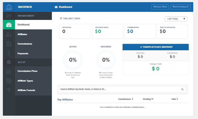 ClickFunnels backpack dashboard