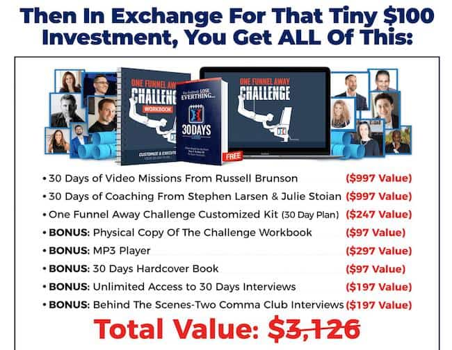 one funnel away challenge offer bonus