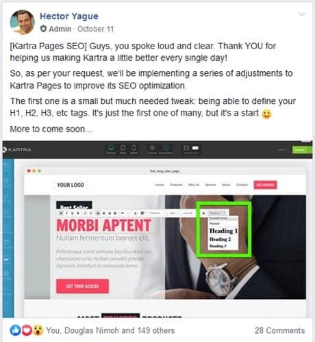 Kartra SEO page update