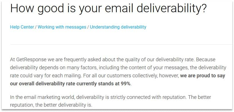 GetResponse deliverability rate