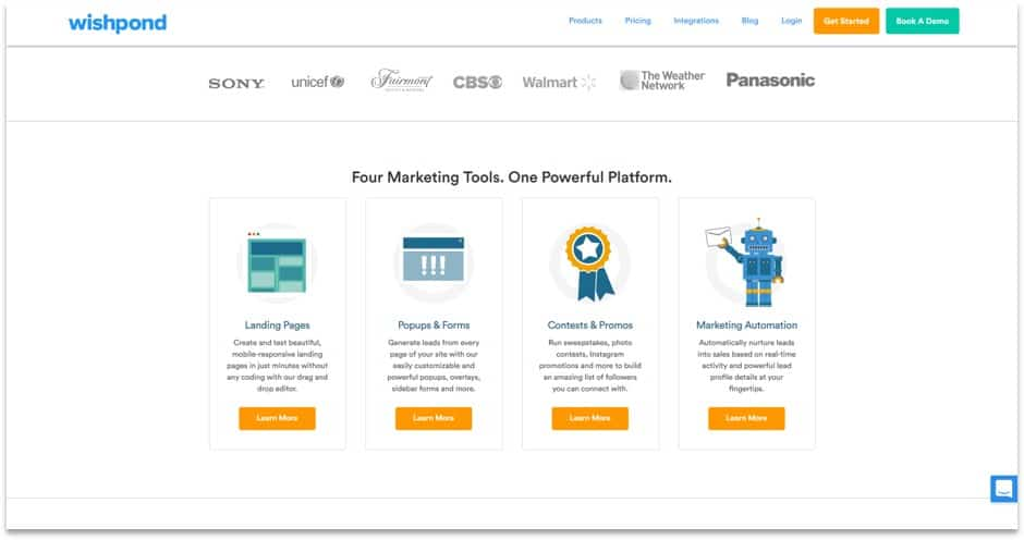 Wishpond landing pages, popups, contests, marketing automation