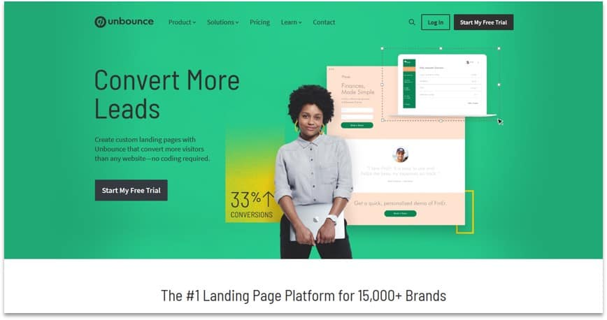 drag and drop landing software - Unbounce