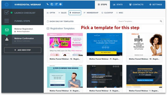 Pick a webinar registration template ClickFunnels