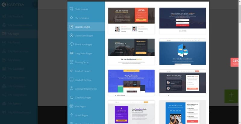 Kartra squeeze page templates