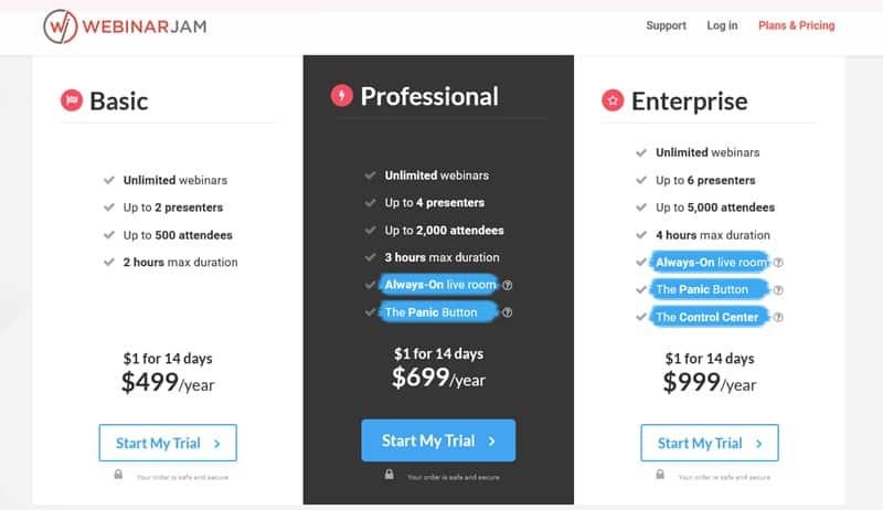 WebinarJam price
