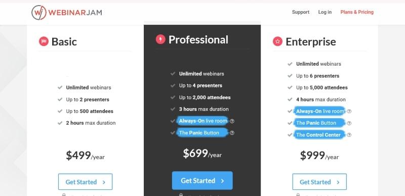 WebinarJam Pricing Plans