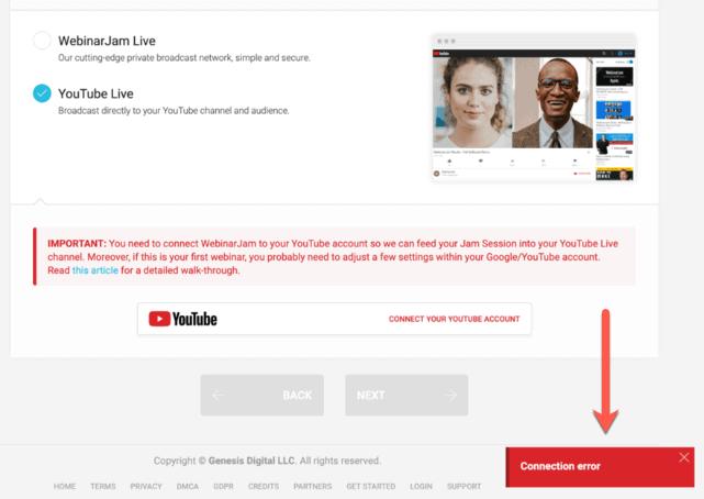 WebinarJam YouTube Live Stream