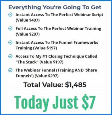 Perfect webinar Secrets price