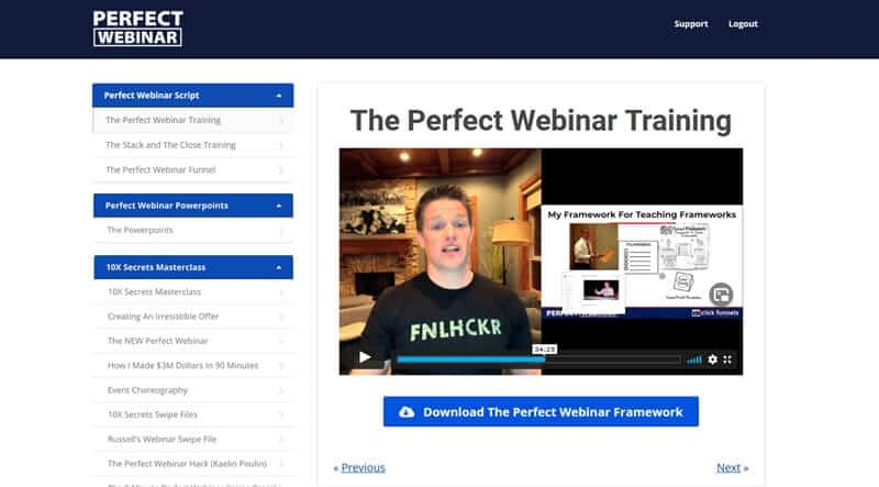 The Perfect Webinar Secrets members area