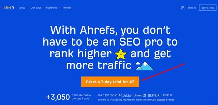 Ahrefs $7 trial