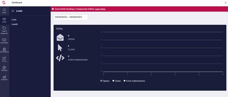 GrooveMail dashboard