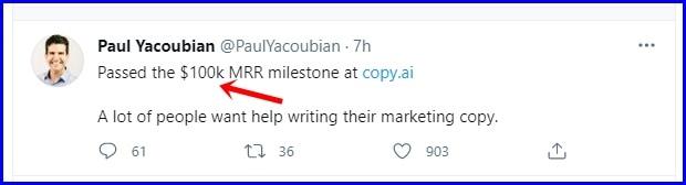 Copy ai founder tweet